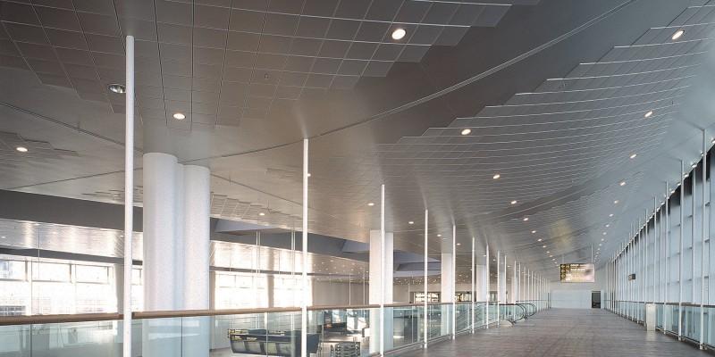 Copenhagen, CPH Airport. Clip-in Tile bevelled edge ceiling.