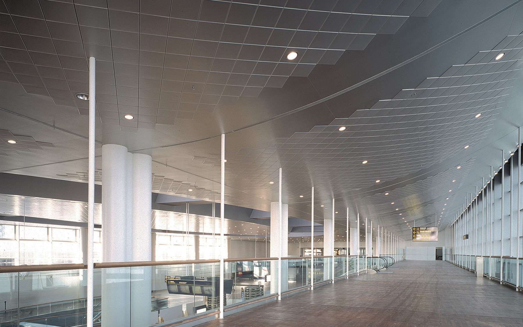 Copenhagen, CPH Airport. Clip-in Tile bevelled edge ceiling.